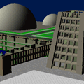 A view of a 3D virtual environment showing unfinished college buildings.