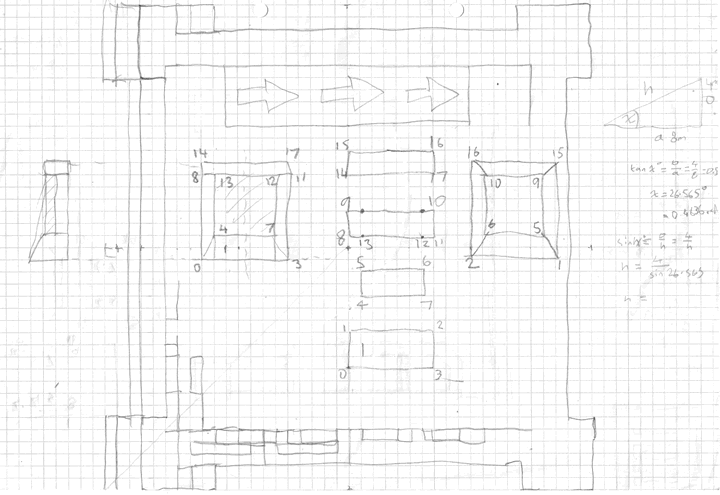 A set of building rough drafts on graph paper.